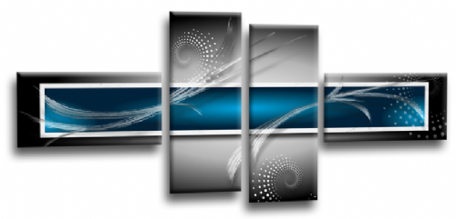 Abstract Canvas Wall Art Print Blue Grey White Picture